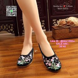 รองเท้าเปิดท้าย เสริมส้น 2 นิ้ว วัสดุผ้าปักลายดอกไม้น่ารักๆ น้ำหนักเบา รูปเล็กที่ 3