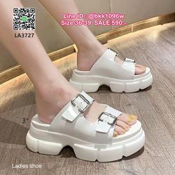 รองเท้าส้นเตารีด ส้นขนมปัง สูง3นิ้ว แบบสวม หนังแก้วนิ่ม สายคาดหน้าแบบเข็มขัด 2 ตอนปรับได้ น้ำหนักเบา ใส่สบาย  รูปเล็กที่ 4