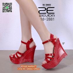 รองเท้าส้นเตารีด สูง 5 นิ้ว วัสดุหนังPUนิ่ม พื้นนิ่ม  รูปเล็กที่ 1