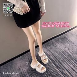 รองเท้าส้นเตารีด ส้นขนมปัง สูง3นิ้ว แบบสวม หนังแก้วนิ่ม สายคาดหน้าแบบเข็มขัด 2 ตอนปรับได้ น้ำหนักเบา ใส่สบาย  รูปเล็กที่ 5