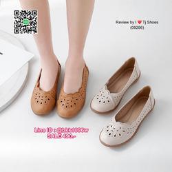 รองเท้าคัชชู น้ำหนักเบา หนังPUนิ่ม ฉลุลาย มีรูระบายอากาศ ใส่แล้วไม่อับเท้า พื้นบุนวมนิ่ม ใส่นุ่มสบายมากๆ ส้นยาง รูปเล็กที่ 1