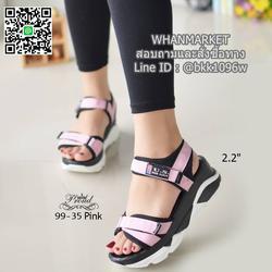 """รองเท้าลำลองส้นแบน วัสดุผ้าไมโครไฟเบอร์ พื้นพียูนิ่มๆ ดีเทลสายคาดหน้า สูง 2.2"""" รูปเล็กที่ 2"""
