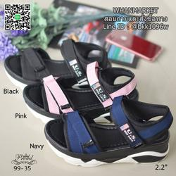 """รองเท้าลำลองส้นแบน วัสดุผ้าไมโครไฟเบอร์ พื้นพียูนิ่มๆ ดีเทลสายคาดหน้า สูง 2.2"""" รูปเล็กที่ 1"""