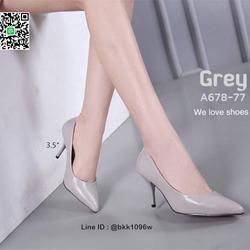 รองเท้าคัชชู ส้นสูง 3.5 นิ้ว หนังPUนิ่ม เงางาม ทรงหัวแหลม รูปเล็กที่ 6