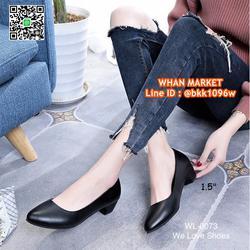 รองเท้าคัชชูสีดำ ส้นเหลี่ยม ส้นสูง 1.5 นิ้ว หนังPU อย่างดี  รูปเล็กที่ 4