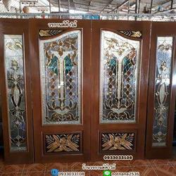 ร้านวรกานต์ค้าไม้ จำหน่าย ประตูไม้สักบานคู่กระจกนิรภัย ประตูโมเดิร์น ประตูไม้สักบานเลื่อน รูปเล็กที่ 4