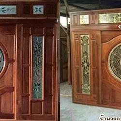 ประตูไม้สัก ,ประตูไม้สักกระจกนิรภัย, ประตูไม้สักบานคู่, ประตูไม้สักบานเดี่ยว ร้านวรกานต์ค้าไม้  door-woodhome.com รูปเล็กที่ 4