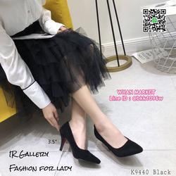 รองเท้าคัทชู หนังกลับนิ่ม หัวแหลม สูง 3.5 นิ้ว แพทเทรินสวย รูปเล็กที่ 6