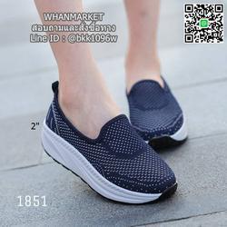 รองเท้าผ้าใบลำลอง เสริมส้น 2 นิ้ว วัสดุผ้าทอตาข่ายอย่างดี  รูปเล็กที่ 5