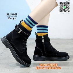 รองเท้าบูทสไตล์เกาหลี หนังPU มีเชือกปรับกระชับเท้า ทรงสวยมาก รูปเล็กที่ 5