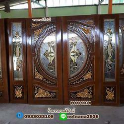 ร้านวรกานต์ค้าไม้ จำหน่าย ประตูไม้สักบานคู่กระจกนิรภัย ประตูโมเดิร์น ประตูไม้สักบานเลื่อน รูปเล็กที่ 3