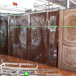 ประตูไม้สักกระจกนิรภัย , ประตูไม้สักบานคู่ ร้านวรกานต์ค้าไม้ door-woodhome.com รูปเล็กที่ 5