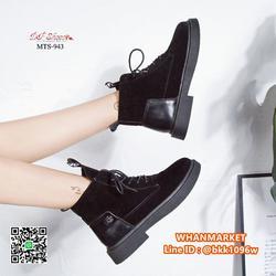 รองเท้าบูทแฟชั่น แบบผูกเชือก วัสดุหนังกลับบุขนด้านใน พื้น PU รูปเล็กที่ 5