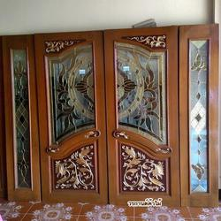 ประตูไม้สัก , ประตูไม้สักกระจกนิรภัย , ประตูหน้าต่าง ร้านวรกานต์ค้าไม้ door-woodhome รูปเล็กที่ 4