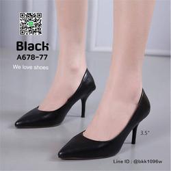 รองเท้าคัชชู ส้นสูง 3.5 นิ้ว หนังPUนิ่ม เงางาม ทรงหัวแหลม รูปเล็กที่ 2