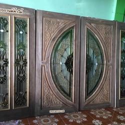 ประตูไม้สัก,ประตูไม้สักกระจกนิรภัย ไม้สักเก่า  ร้านวรกานต์ค้าไม้ door-woodhome.com รูปเล็กที่ 6