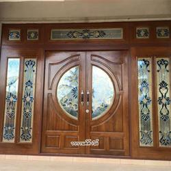 ประตูไม้สักกระจกนิรภัย , ประตูไม้สักบานคู่ ร้านวรกานต์ค้าไม้ door-woodhome.com รูปเล็กที่ 4