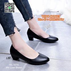 รองเท้าคัชชูสีดำ ส้นเหลี่ยม ส้นสูง 1.5 นิ้ว หนังPU อย่างดี  รูปเล็กที่ 6