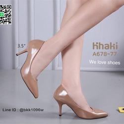 รองเท้าคัชชู ส้นสูง 3.5 นิ้ว หนังPUนิ่ม เงางาม ทรงหัวแหลม รูปเล็กที่ 4