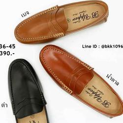 รองเท้าคัชชูหนังแท้ สีเบจ พื้นเรียบ แบบสวม วัสดุหนังแท้คุณภา รูปเล็กที่ 4