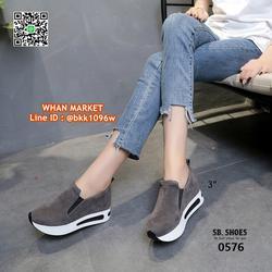 รองเท้าผ้าใบเสริมส้น สูง 3 นิ้ว สไตล์เกาหลี วัสดุหนังสักกะหล รูปเล็กที่ 3