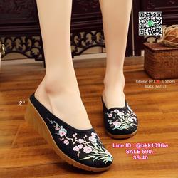 รองเท้าเปิดท้าย เสริมส้น 2 นิ้ว วัสดุผ้าปักลายดอกไม้น่ารักๆ น้ำหนักเบา