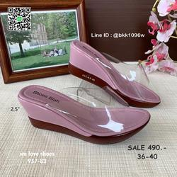 รองเท้าส้นเตารีด พลาสติกใสนิ่ม น้ำหนักเบา สูง 2.5 นิ้ว   รูปเล็กที่ 1