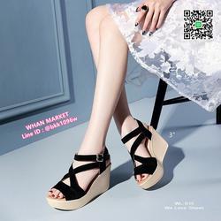 รองเท้าส้นเตารีดสูง 3 นิ้ว วัสดุผ้ากำมะหยี่ สวมใส่ง่ายด้วยตะ รูปเล็กที่ 2