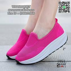 รองเท้าผ้าใบลำลอง เสริมส้น 2 นิ้ว วัสดุผ้าทอตาข่ายอย่างดี  รูปเล็กที่ 3