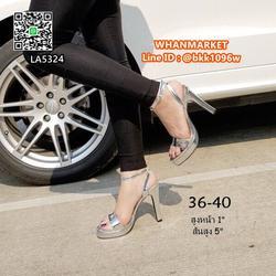 """รองเท้าส้นสูงแฟชั่น แบบรัดข้อ วัสดุหนังPUเคลือบ สีเงิน สูง5"""" รูปเล็กที่ 3"""