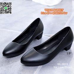 รองเท้าคัชชูสีดำ ส้นเหลี่ยม ส้นสูง 1.5 นิ้ว หนังPU อย่างดี  รูปเล็กที่ 3