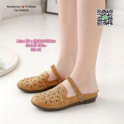 รองเท้ารัดส้น หนังPUนิ้มนิ่ม ฉลุลายน่ารักๆ มีรูระบายอากาศ ใส่แล้วเท้าไม่อับ สายยางยืดปรับขึ้นลงได้  ใส่ได้ 2 แบบ