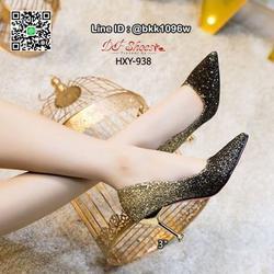 รองเท้าคัชชูส้นสูง 3 นิ้ว วัสดุหนัง PU ประดับกริตเตอร์   รูปเล็กที่ 6