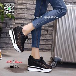 รองเท้าผ้าใบเสริมส้น วัสดุลูกไม้+หนัง PU แพลตฟอร์มเกาหลี  รูปเล็กที่ 5