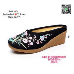รองเท้าเปิดท้าย เสริมส้น 2 นิ้ว วัสดุผ้าปักลายดอกไม้น่ารักๆ น้ำหนักเบา รูปเล็กที่ 4