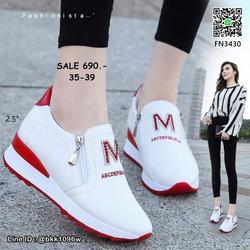รองเท้าผ้าใบเสริมส้น วัสดุ pu เนื้อหนานุ่ม แต่งซิปคู่ด้านหน้ รูปเล็กที่ 5