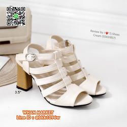 รองเท้าส้นสูง 3.5 นิ้ว รัดส้น วัสดุหนังpuนิ่ม ส้นลายไม้น่ารั รูปเล็กที่ 6