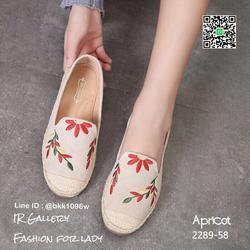 รองเท้าคัชชูลำลอง ทรงเอสพราดิล วัสดุหนังกลับนิ่มปักดอกไม้  รูปเล็กที่ 3