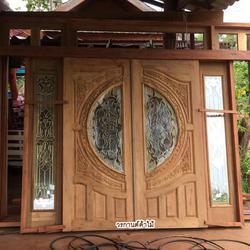ประตูไม้สัก,ประตูไม้สักกระจกนิรภัย www.door-woodhome.com ร้านวรกานต์ค้าไม้ รูปเล็กที่ 2