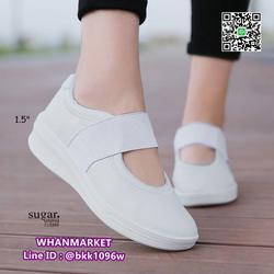 รองเท้าผ้าใบหนังเสริมส้น 1.5 นิ้ว วัสดุหนัง pu นิ่มมาก  รูปเล็กที่ 4