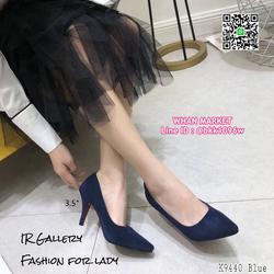 รองเท้าคัทชู หนังกลับนิ่ม หัวแหลม สูง 3.5 นิ้ว แพทเทรินสวย รูปเล็กที่ 3
