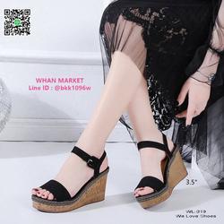 รองเท้าส้นเตารีด สูง 3.5 นิ้ว ผ้าสักหลาด สวมใส่ง่ายด้วยตะขอเ รูปเล็กที่ 3