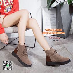 รองเท้าบูทแฟชั่น แบบผูกเชือก วัสดุหนังกลับบุขนด้านใน พื้น PU รูปเล็กที่ 1