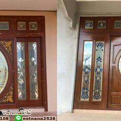ประตูไม้สัก ,ประตูไม้สักกระจกนิรภัย, ประตูไม้สักบานคู่, ประตูไม้สักบานเดี่ยว ร้านวรกานต์ค้าไม้  door-woodhome.com รูปเล็กที่ 2