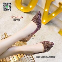 รองเท้าคัชชูส้นสูง 3 นิ้ว วัสดุหนัง PU ประดับกริตเตอร์   รูปเล็กที่ 1