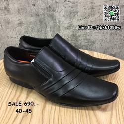 รองเท้าคัชชูหนัง สีดำ ผู้ชาย แบบสวม ทรงสุภาพ วัสดุหนังPU  รูปเล็กที่ 1