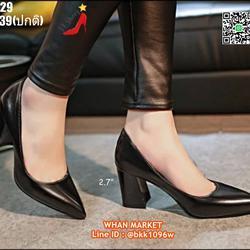 รองเท้าคัชชู ส้นแท่ง สูง 2.7 นิ้ว หัวแหลม วัสดุหนังแก้ว  รูปเล็กที่ 2