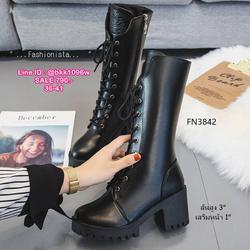 รองเท้าบูทแฟชั่น ทรงสูง มีซิปข้างถอดใส่ง่ายมาก วัสดุหนัง pu คุณภาพดี รูปเล็กที่ 3