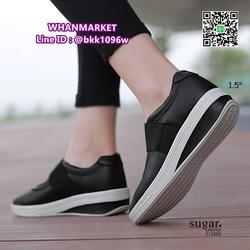รองเท้าผ้าใบหนังเสริมส้น 1.5 นิ้ว วัสดุหนัง pu นิ่มมาก  รูปเล็กที่ 2