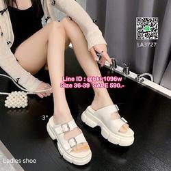 รองเท้าส้นเตารีด ส้นขนมปัง สูง3นิ้ว แบบสวม หนังแก้วนิ่ม สายคาดหน้าแบบเข็มขัด 2 ตอนปรับได้ น้ำหนักเบา ใส่สบาย  รูปเล็กที่ 6